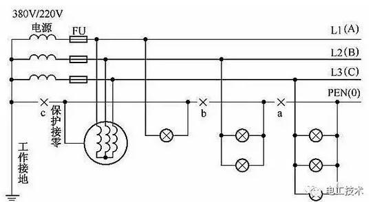 220v零线电路图如何画